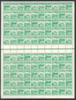 1953 Food set in MUH reasonably centered sheets of 100, comprised of 12 strips of 3 and 6 blocks of 9 sets. 3d with white line joining