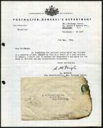 1964 partially charred commercial cover from Rockdale, NSW to West Heidelberg, Victoria, hinged to a letter from the Postmaster General's Department, apologising for fire damage as a result of a road accident in transit. Interesting item.