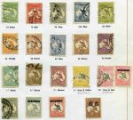Collection of mint and used stamps from 1913 to 1978 including 1924 £1 Grey 3rd Wmk and 1929 10/- Grey and Pink Small Mult Wmk Kangaroos with repaired telegraph punctures used, 1932-35 C of A Wmk Kangaroo set O/P Specimen Type D MLH, KGV set to 1/4 value including OS overprint issues used, 1914 6d Claret Kooka CTO, 1928 3d Kooka M/S MLH (tiny thin), 1931 2d and 3d Kingsford Smith O/P OS CTO, 1931 6d Brown Airmail GU, 1931 6d Brown Airmail O/P OS, 1932 1/- Lyrebird O/P OS FU, 1932 5/- Green Sydney Harbour Bridge FU (thinned), 1934 Vic Centenary set used, 1934 Macarthur set used, 1935 Anzac set used, 1935 Silver Jubilee set used, 1938 Thick Paper Robe set FU, 1949-50 Arms set FU, 1963-64 Navigator set FU and complete mint Decimal including 1971 Christmas block of 25 in Seven Seas Standard album. Some generally minor faults.