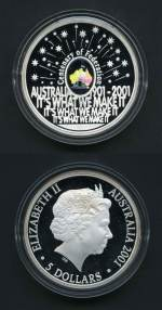2001 $5.00 Centenary of Federation Finale RAM Hologram Coin in case with certificate. Catalogue Value $550.00.