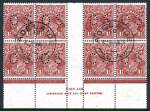 1930 1½d Red-Brown Small Multiple Wmk perf 13½ KGV perforated OS [N over A] imprint block of 8 FU with full gum and 2 clear Adelaide S.A. CDS postmarks. Scarce perforated OS imprint block. ACSC 93zc.