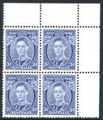 1938 3d Blue Die II Thick Paper KGVI corner block of 4 MUH and well centered.