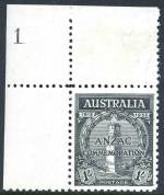 1935 1/- Anzac Plate No's 1 and 2 corner copies MUH and well centered. Hinged in selvedge.