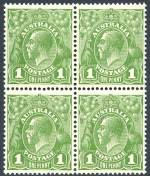 1926 1d Green Small Multiple Wmk perf 13½ KGV MUH well centered block of 4 consisting of Die I and II pairs.