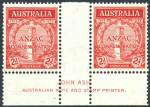 1935 Anzac set in MUH well centered imprint pairs. 1/- lightly hinged on selvedge.