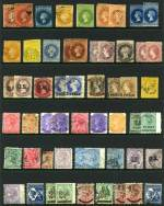 Selection of 106 mostly used stamps including imperf and roulette issues, varying duplication and the odd fault. Noted 1869 1d Deep Yellow-Green Queen Vic roulette MLH, 1870 3d on 4d in Red on Dull Ultramarine perf 10 Queen Vic FU and 1886 10/- Green Postage and Revenue perf 11½-12½ Long Tom CTO with gum. High catalogue value.