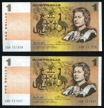 1976 $1.00 Knight/Wheeler Centre Thread and Side Thread banknotes EF (20 of each), with numerous consecutive numbers. McDonald 106 and 108. Catalogue Value $900.00.