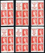 1966 4¢ Red QEII Helecon Ink booklet pane set of 6 slogans MUH.