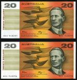 1990 $20.00 Fraser/Higgins consective run of 5 banknotes good EF. Serial Nos RGX 948295 - RGX 948299. McDonald 194. Catalogue Value $300.00.