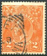 1920 2d Orange Single Wmk KGV with cracked electro through top left wattles FU. Bent top right corner perf hardly detracts. ACSC 95(8)fa. Catalogue Value $250.00.