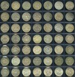 Complete set of Shillings from 1910 to 1963 including all different mintmarks. Earlier issues usual lower circulated grades.