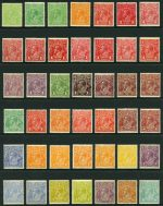 1914-24 Single Wmk KGV set excluding 1d Red Die II MUH. Includes additional shade variations of ½d Green (2), 1d Red (8), 1d Violet, 1½d Brown (2), 2d Red, 2d Red-Brown, 4d Orange (3) 4d Blue and 4d Olive. 3d Blue MLH. Total of 42 stamps in fair to reasonably well centered condition.