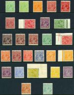 1914-24 Single Wmk KGV set excluding 1d Red Die II and Die III MUH. Includes additional shade variations of ½d Green, 1d Red (3), 1½d Brown and 4d Orange. One 4d Orange with Inverted Wmk and 1/4 with strongly duplicated upper frame at left. Total of 27 stamps, in fair to reasonably well centered condition.