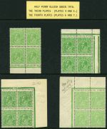 1918 ½d Green Large Multiple Wmk KGV selection of 4 distinctive shades in MUH marginal blocks of 4. Includes top right marginal block with White flaw adjoining kangaroo's back variety. Lightly hinged in selvedge.