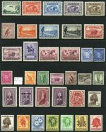Collection of 48 MUH Pre-Decimal stamps from 1929 to 1964 including 1931 6d Brown Airmail, 1932 6d Brown Kooka, 1934 1/- Perf 11½ Vic Centenary (MVLH), 1934 2d Dark Hills and 9d Macarthur, 1935 2/- Silver Jubilee (MVLH), 1937-38 Perf 13½ Zoological set, 1938-40 3d Blue Die II Thick Paper and Die III KGVI, 1938-48 10/- Thick and Thin Paper Robe and 1964 £1 White Paper Navigator. Mainly well centered.