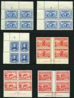 Selection of 17 MUH Pre-Decimal imprint and Plate No blocks of 4 from 1929 to 1952 including 1930 3d Sturt Plate No 2, 1931 3d Kingsford Smith Plate No's 2 and 3 and 1948 1/6 Thin Paper Hermes McCracken imprint (3). Mainly well centered.