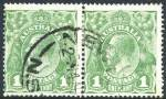 1924 1d Green Single Wmk KGV FU pair with Dry ink. ACSC 77c. Catalogue Value $200.00.