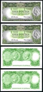 1961 £1 Reserve Bank QEII Coombs/Wilson banknote with Emerald back consecutive pair Unc. Superb clean notes. Serial Nos HJ65 743127 to HJ65 743128. McDonald 52. Rennicks 34b. Retail $730.00+.