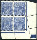 1929 3d Blue Die II Small Multiple Wmk perf 13½ KGV MLH lower right corner block of 4 with paper fold prior to perforating, resulting in lower right corner unit appearing part imperforate. Spectacular exhibition piece. ACSC 108.