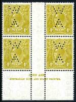 1933 4d Olive C of A Wmk KGV Ash imprint (N over N) block of 4 perforated WA. Lightly hinged on top units and lower units MUH. Lower right unit with Diagonal white line on King's neck variety. ACSC 117(4)za.