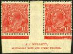 1926 1½d Red Small Multiple Wmk perf 14 KGV Plate 1a Mullett imprint pair MLH. Very scarce imprint. ACSC 91(1a)za.