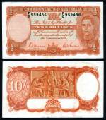 1939 10/- Sheehan/McFarlane Red Signature KGVI banknote EF. A crisp, clean natural note. A scarce note in this condition. Serial No F0 959486. McDonald 20. Rennicks 12. Catalogue Value $1,450.00.