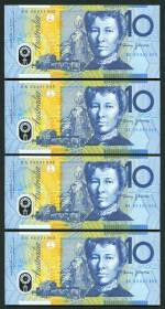 1993 $10.00 Fraser/Evans Polymer Banknote with Blue Dobell shading consecutive run of 10 notes Unc. Serial Nos BK 93 031902 to BK 93 031911. McDonald 401. Rennicks 316a.  Catalogue Value $650.00.