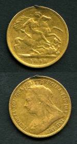1899 Queen Victoria Veiled Head Gold Half Sovereign with mark from mount removal, F.