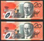 1994 $20.00 Fraser/Evans consecutive run of 5 Polymer banknotes Unc.