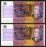 1985 $5.00 Johnston/Fraser with OCBR serial numbers paper banknotes EF/aUnc (11).