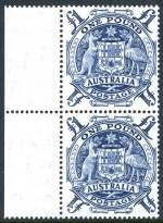 1949 10/- corner block of 4 and £1 marginal pair Arms MUH and well centered.