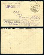 1941 OHMS Official Mail cover from H.Q. Fixed Defences Fort Largs to Keswick with FLO 21.VII.41. Army Signals in black and HO 21.VII.41. Army Telegraphs in violet postmarks, plus timeclock and URGENT straight line postal markings in violet. Light vertical fold.
