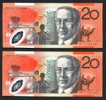 1994 $20.00 Polymer Fraser/Evans banknote Unc consecutive run of 5. Serial Nos BM 94 000024 to BM 94 000028. McDonald 501a. Rennicks 416a. Retail $475.00.