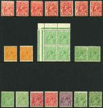 Selection of 152 mainly lower value mint KGV issues including 1913 1d Red Engraved (7), 1914-24 ½d Green (8), 1d Red (2), 1d Green (2), 1½d Black-Brown (13), 1½d Brown (4), 1½d Green, 1½d Red (9, plus Mullett imprint pair), 2d Brown, 2d Red (2), 4d Orange, 4d Violet, 4d Blue and 4d Olive Single Wmk, 1924 No Wmk set, 1918-24 ½d Green (5), 1d Green, 1½d Black-Brown and 1½d Brown (2) Large Mult Wmk, 1926-27 ½d Orange, 1d Green, 1½d Red (7) and 4½d Violet (2) Small Mult Wmk perf 14, 1927-30 ½d Orange (2), 1d Green (2), 1½d Red (11), 1½d Brown, 2d Red (3), 2d Brown, 4d Olive, 1/4 Blue and Surcharge set (11) Small Mult Wmk perf 13½ and 1931-33 1½d Brown (6), 4d Olive and 5d Brown C of A Wmk. Odd fault, but generally fine MLH condition. Includes few varieties and several MUH. High retail value.