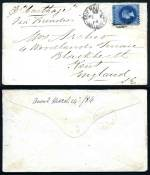 1867 Cover from Adelaide to Edinburgh franked with 6d Dull Blue roulette Queen Vic and 1884 Cover from Adelaide to England per