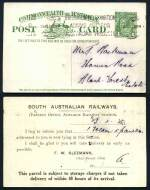 1911 1d Red KGV Full Face overprinted O.H.M.S., 1916 1d Red Die I, 1921 1½d Brown and 1924 1d Green Die III KGV postcards used, all with South Australian Railways printed on reverse. 1d Green and 1½d Brown with bent corners. ASC P3, 10, 19 and 29.
