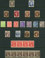 Selection of 17 different mint stamps from 1867 to 1911 comprised of Sg No's 27, 112 (no gum), 131, 133, 147, 148, 293-297, 017, 019, 033 and 036. Catalogue Value £602.00. Also 1914-18 1d Red strip of 4 and 1½d Black-Brown strip of 6 Single Wmk KGV MLH with slight faults and 1990 $20.00 Painting O/P Specimen corner pair MUH.