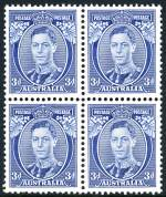 1937 3d Blue Die I KGVI block of 4 MUH and well centered. Lower left unit with few short perfs.