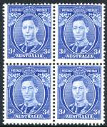 1938 3d Blue Die II Thin Paper KGVI block of 4 MUH and centered high.