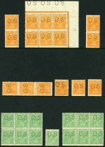 Selection of 176 mainly low value mint KGV issues perforated OS in singles, pairs and blocks comprising 1914-24 ½d Orange (16), ½d Green (23), 1d Red (18), 1d Violet (3), 1d Green (4), 1½d Black-Brown (4), 1½d Brown (4), 1½d Red (4), 1½d Green, 2d Orange (9), 2d Red (2), 3d Blue (4), 4d Orange, 4d Violet, 4d Blue (3), 4d Olive, 4½d Violet (2), 5d Brown (2) and 1/4 Blue (3) Single Wmk, 1918-24 ½d Green (7), 1d Red (3), 1d Green and 1½d Brown (8) Large Mult Wmk, 1926-27 1d Green, 1½d Red (22) and 4d Olive Small Mult Wmk perf 14 and 1927-30 ½d Orange (12), 1½d Red (8), 1½d Brown (4), 2d Red, 3d Blue Die II (8) and 4d Olive (2) Small Mult Wmk perf 13½. Some faults, but many in fine condition. Includes a range of shade variations, odd variety and several MUH. High retail value.
