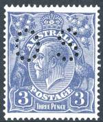 1924 3d Blue Single Wmk KGV perforated OS MVLH and well centered. Retail $100.00+.
