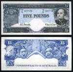 1960 £5 Coombs/Wilson Reserve Bank QEII banknote good EF. Serial No TD01 427770. Catalogue Value $400.00+.
