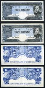 1960 £5 Coombs/Wilson Reserve Bank banknote consecutive pair good VF, with some wet ink transfer of Blue colour on one. Serial No TD01 427771-427772. Catalogue Value $310.00+.