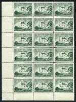 1929 3d Green Airmail Type A perforated OS block of 18 MUH and well centered. One unit MLH and one unit with one short perf. Retail $700.00+.