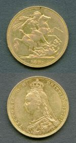 1891 Queen Victoria Scarce Short Tail Jubilee Head Melbourne Mint Gold Sovereign aUnc with small rim knock.
