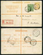 1913 4d Pale Orange Kangaroo Registered Letter from Port Melbourne to Adelaide with additional ½d Green KGV, various backstamps and Red Port Melbourne registration label. Fine condition. ASC RE2.