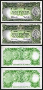 1961 £1 Reserve Bank QEII Coombs/Wilson banknote with Emerald back good VF (4) in 2 consecutive pairs. McDonald 52. Rennicks 34b. Catalogue Value $280.00+.