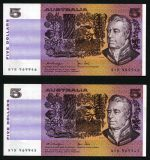 1979 $5.00 Knight/Stone paper banknotes good EF with some consecutive numbers (36). Catalogue Value $900.00.