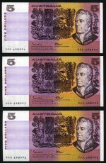 1985 $5.00 Johnston/Fraser with OCBR serial numbers paper banknotes good EF (25) including some consecutive notes. McDonald 150. Catalogue Value $550.00.