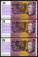 1990 $5.00 Fraser/Higgins (5) and $5.00 Fraser/Cole (3) paper banknotes Unc. McDonald 152 and 153. Retail $275.00.